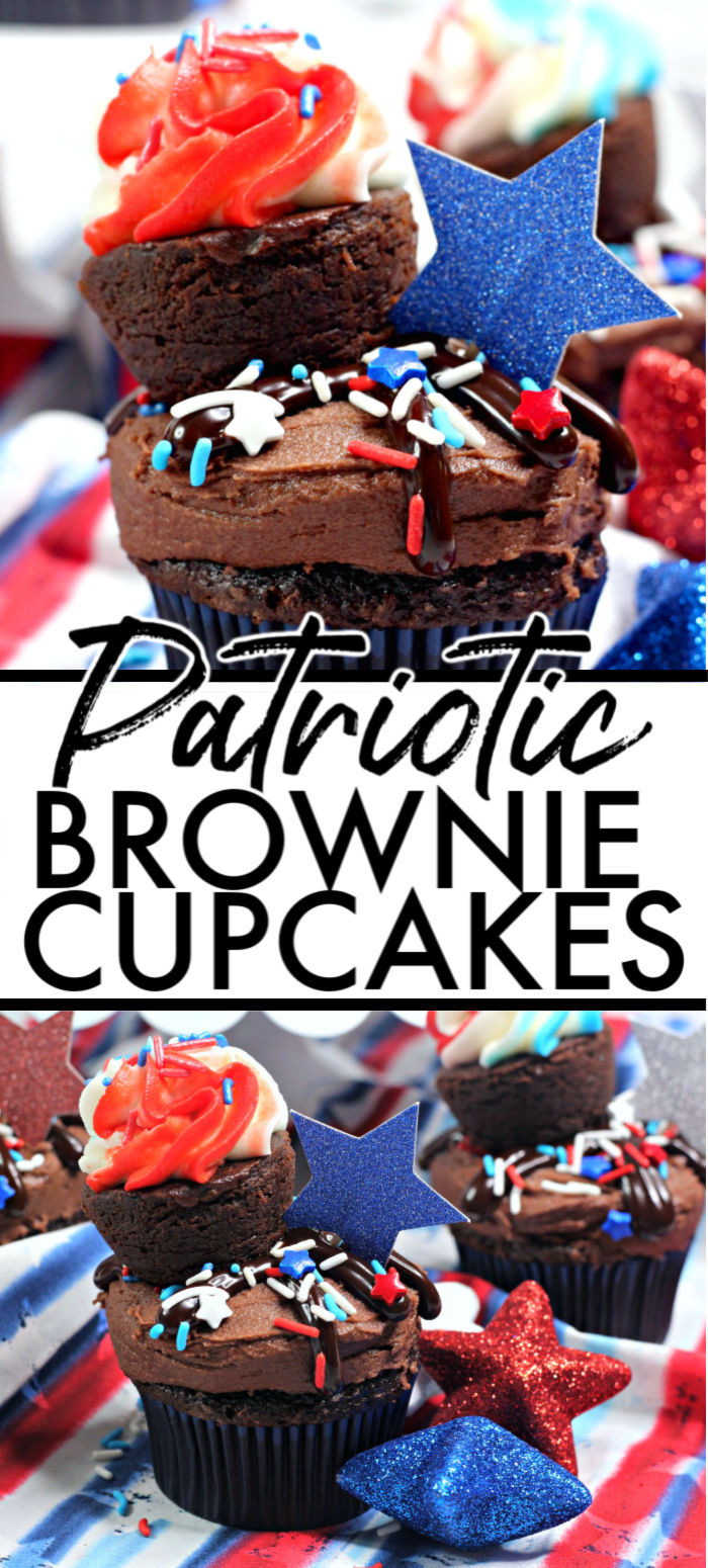 Patriotic Cupcakes are a delicious way to celebrate the 4th of July! A chewy brownie on top of a chocolate cupcake, decorated with red, white, and blue pride, these cupcakes are the perfect addition to any patriotic party or bbq menu! | www.persnicketyplates.com