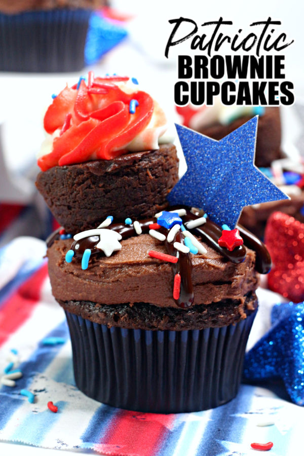 patriotic brownie cupcake with title text