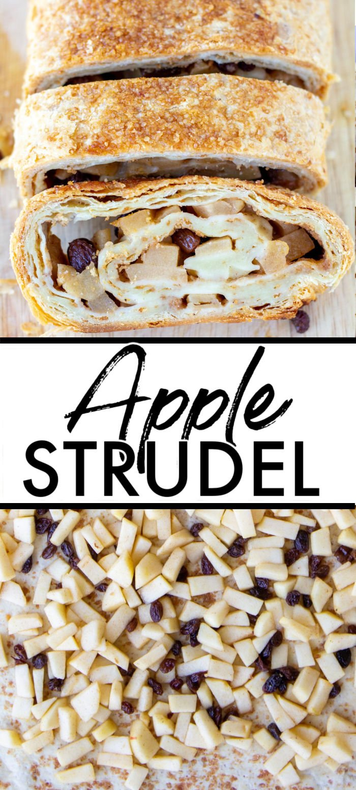 Apple Strudel is a traditional Austrian dessert, also eaten for breakfast. Apples, raisins, breadcrumbs, and cinnamon wrapped in a crispy dough crust with a cup of coffee sounds like a great start to any day.