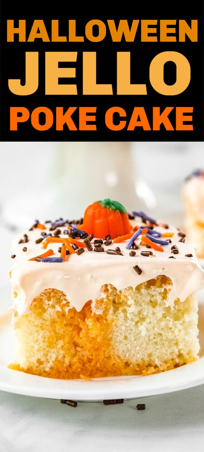 This fall-themed Halloween Poke Cake is all treat and no tricks! Whip up a cake mix with orange Jell-O and whipped topping to make this delicious and easy cake that is perfect for any autumn gathering. | www.persnicketyplates.com
