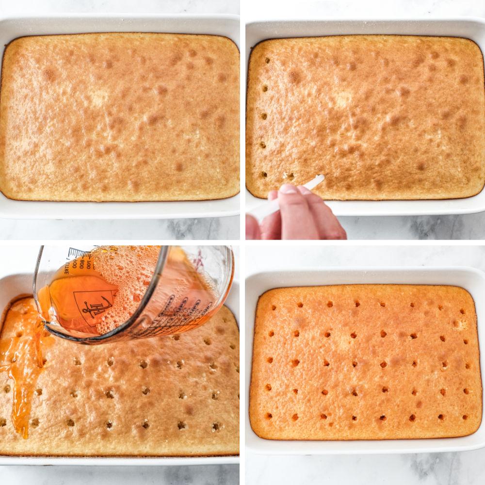 poke cake collage of process shots