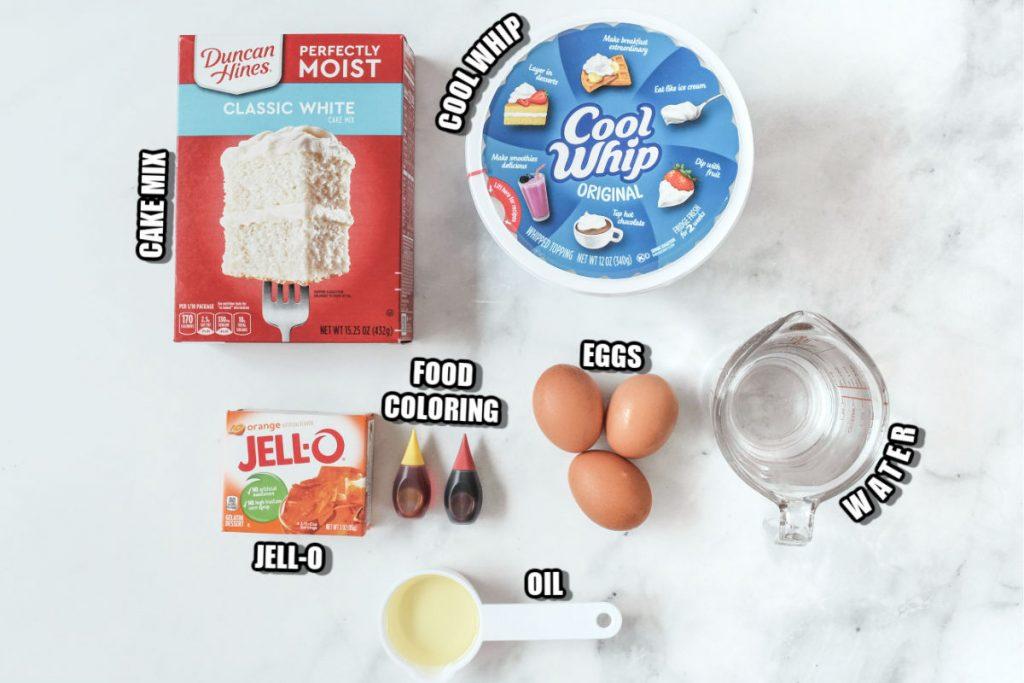 overhead shot of cake mix ingredients