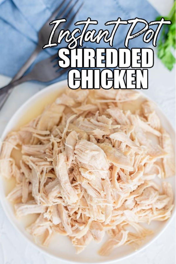 plate of shredded chicken with title text