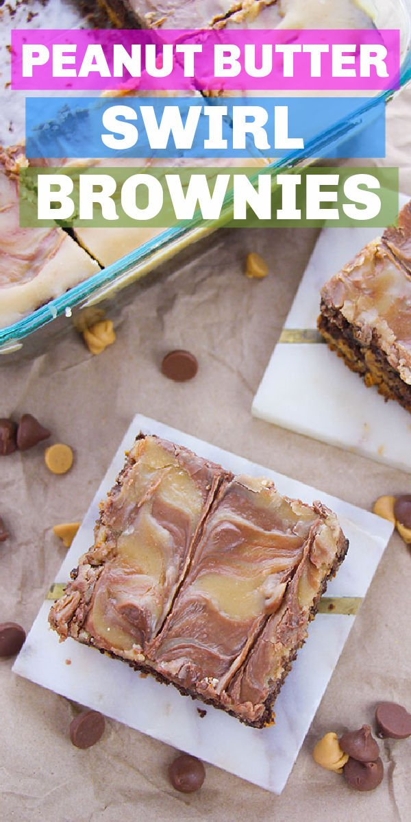 Peanut Butter Swirl Brownies are so good! If you're a peanut butter + chocolate lover like me, you'll love the layer of brownie, swirl of peanut butter, and then a peanut butter frosting. Easy, from scratch, and perfect for a craving! | www.persnicketyplates.com