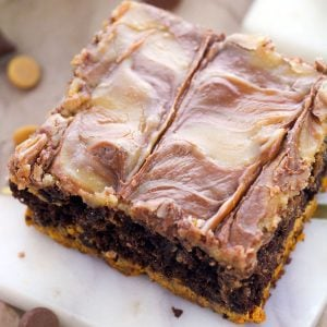 close up of single peanut butter swirl brownie
