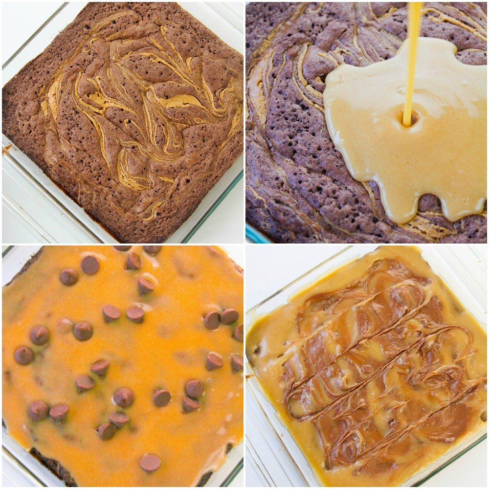 collage of peanut butter pouring onto brownies
