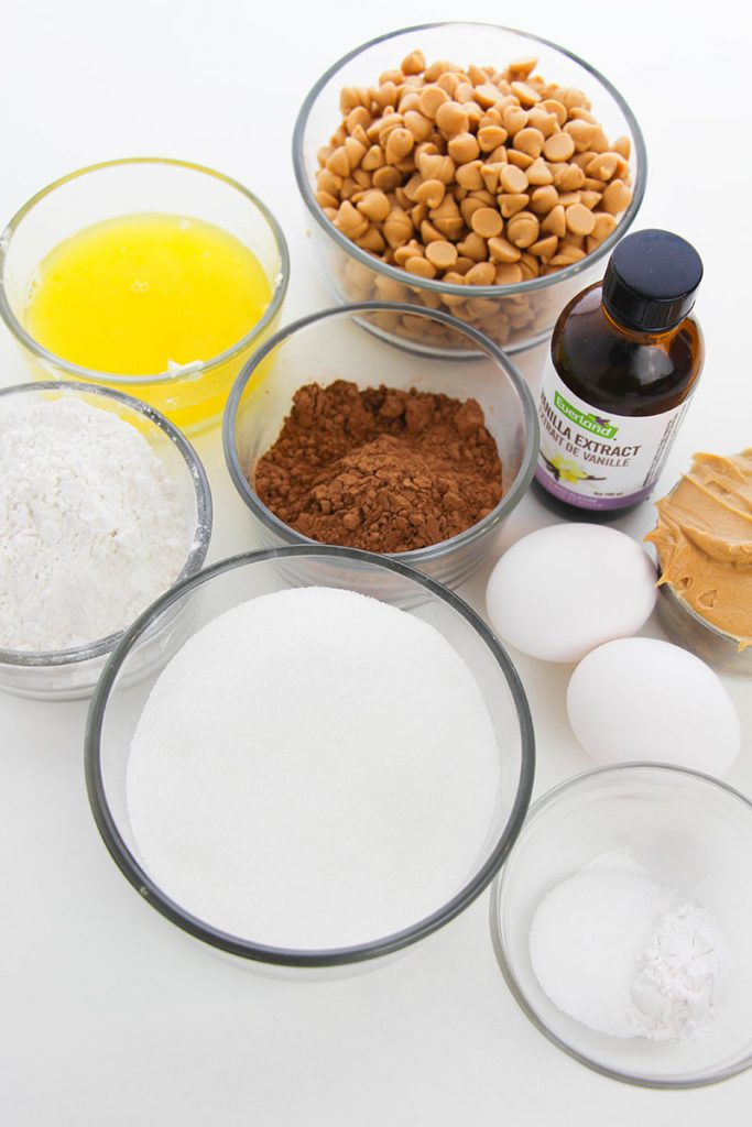 ingredients laid out to make brownies