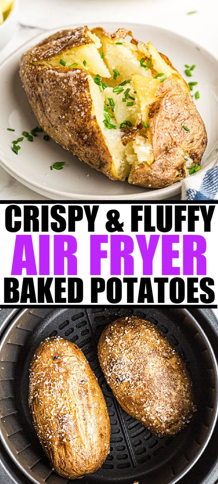 Did you know that you can make the best baked potatoes in the air fryer? Easy Air Fryer Baked Potatoes are perfectly fluffy and tender on the inside with a crispy skin on the outside. Dress them up with toppings or keep it simple with butter and salt & pepper. | www.persnicketyplates.com
