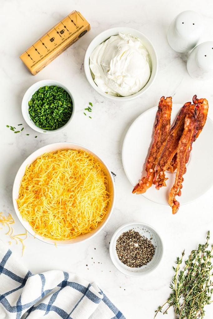 baked potato toppings - bacon, cheese, sour cream