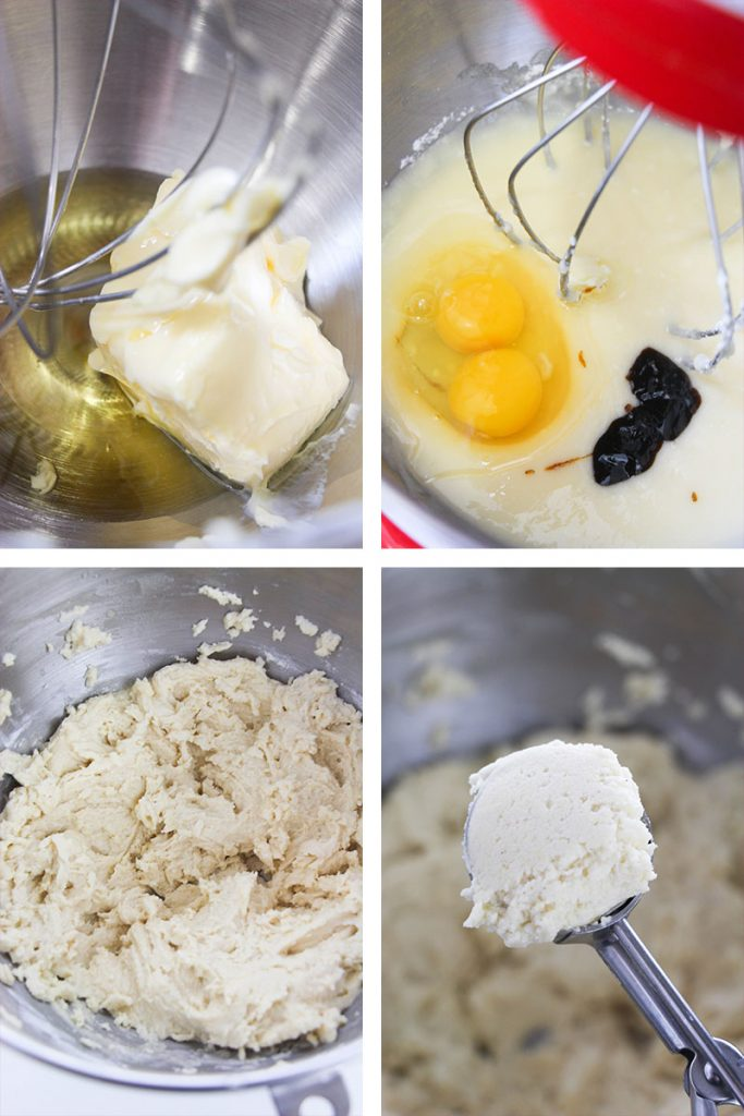 collage of step by step images for making amish sugar cookies