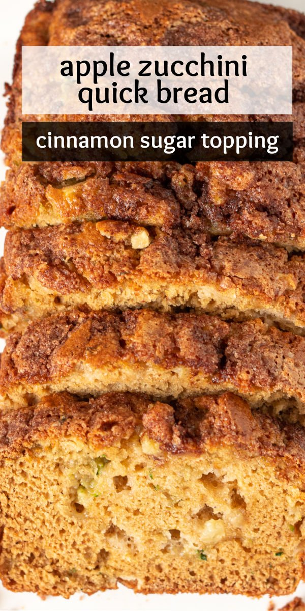 Apple Zucchini Quick Bread is full of moist zucchini, chunks of apples, and crusted with a cinnamon sugar topping. The perfect fall bread that whips up so quickly! | www.persnicketyplates.com