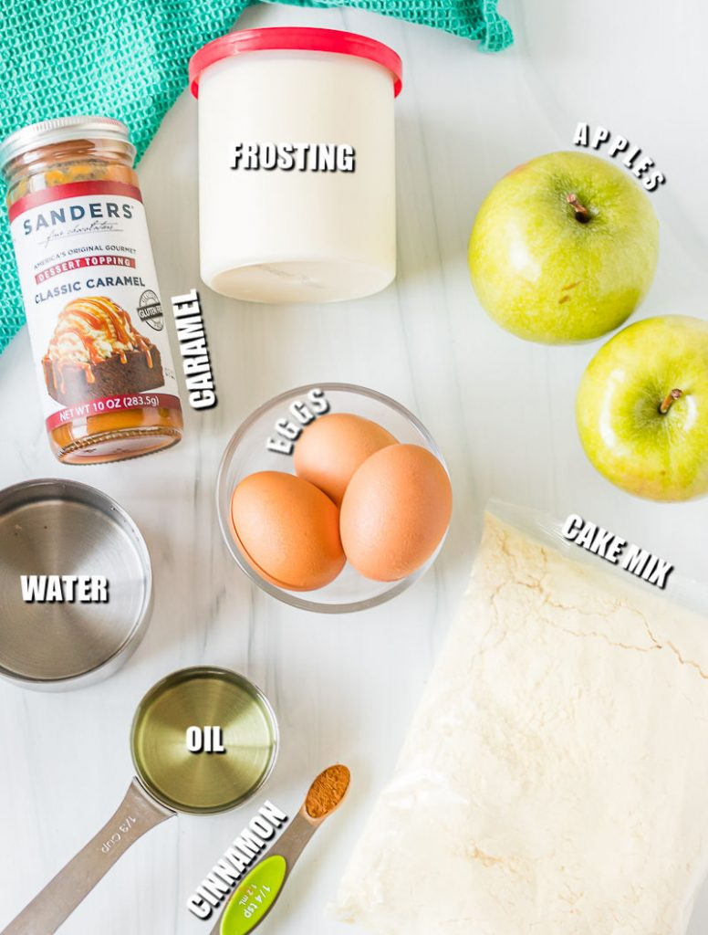ingredients laid out to make a caramel apple cake