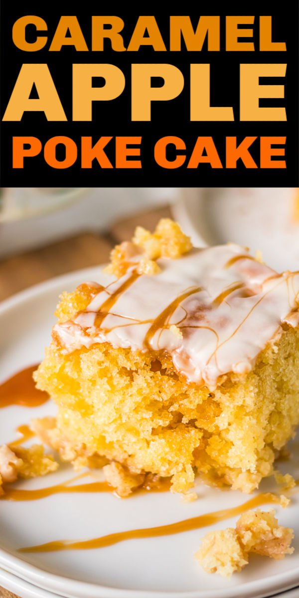 This Caramel Apple Poke Cake is full of apples, cinnamon, and caramel making it the perfect fall dessert. It's so easy to make, it will be your new favorite cake! | www.persnicketyplates.com