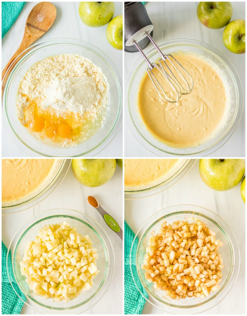 collage of cake batter in mixing bowl