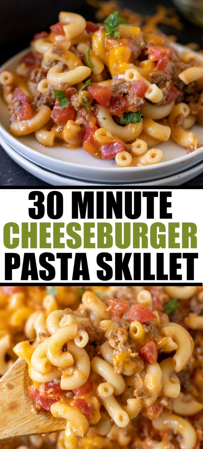 Cheeseburger Pasta Skillet is an easy, family friendly skillet meal that is ready in 30 minutes! Full cheeseburger flavors in comforting pasta form. | www.persnicketyplates.com