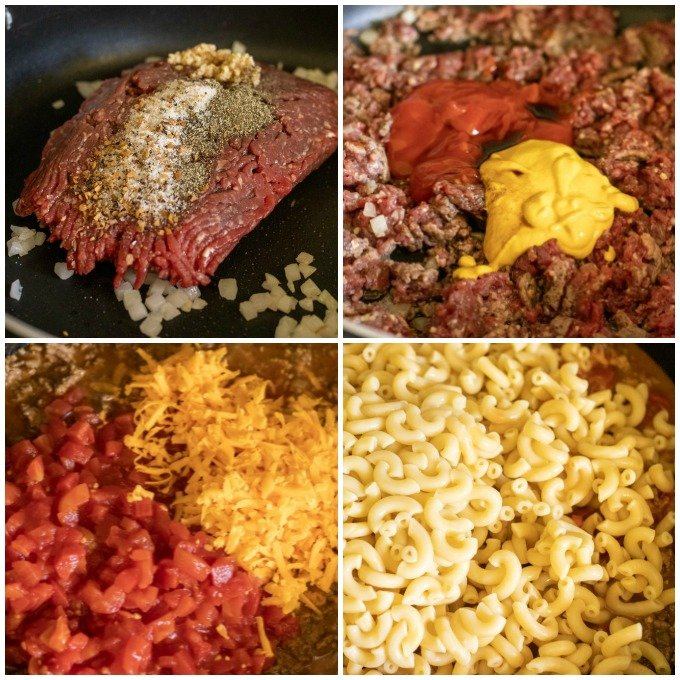 collage of making skillet pasta