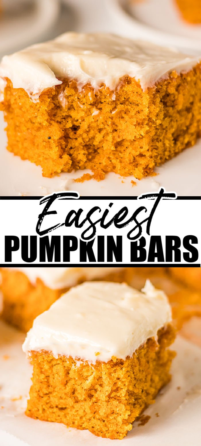 Pumpkin Bars with Cream Cheese Frosting is such a classic, easy recipe! From scratch, moist pumpkin bars are the perfect fall treat and simple enough that anyone can make them. | www.persnicketyplates.com