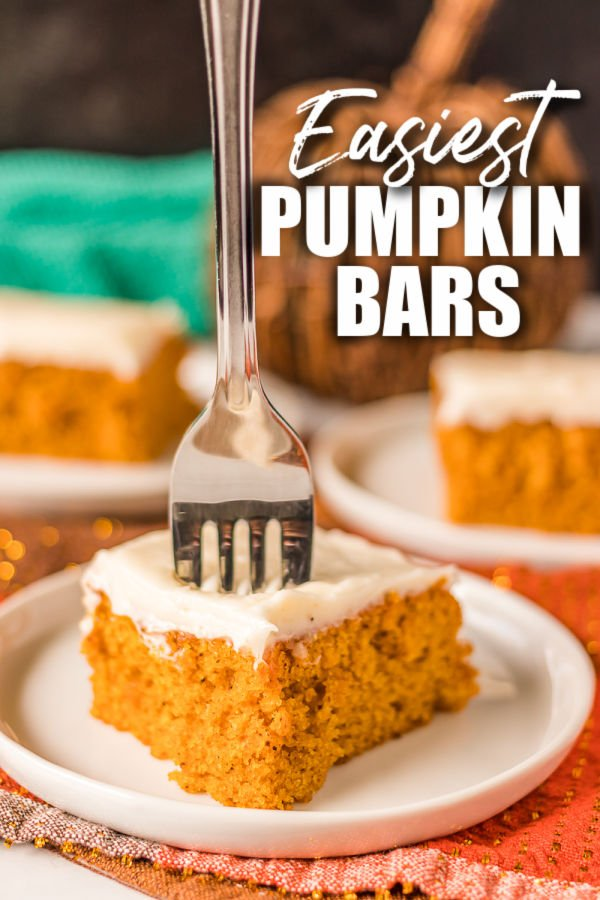 fork sticking into a pumpkin bar with pumpkin bars text overlaid