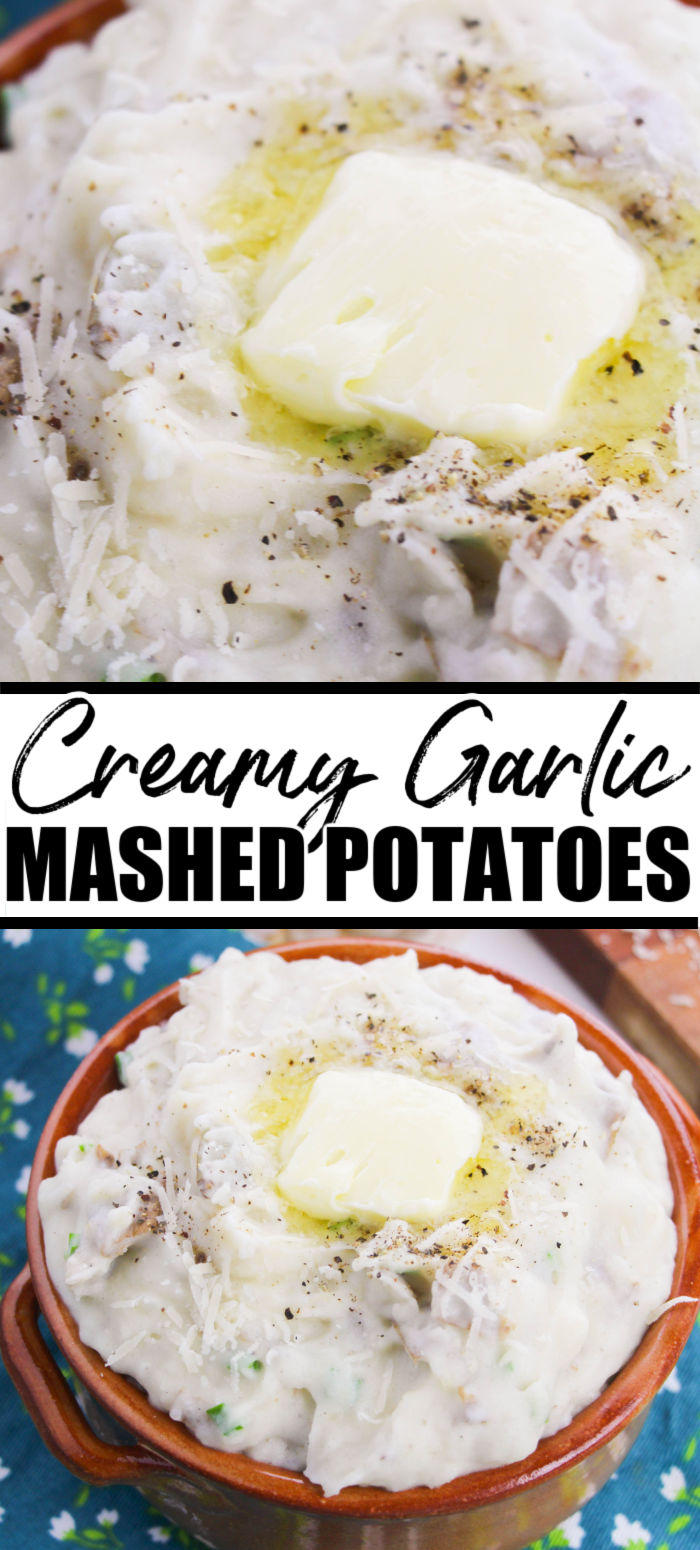The BEST garlic mashed potatoes you will ever try! This smooth & buttery, classic side dish is easy but rivals your favorite steakhouse style potatoes and are perfect to serve for the holidays or any dinner. | www.persnicketyplates.com #sidedishes #easyrecipes #potatoes