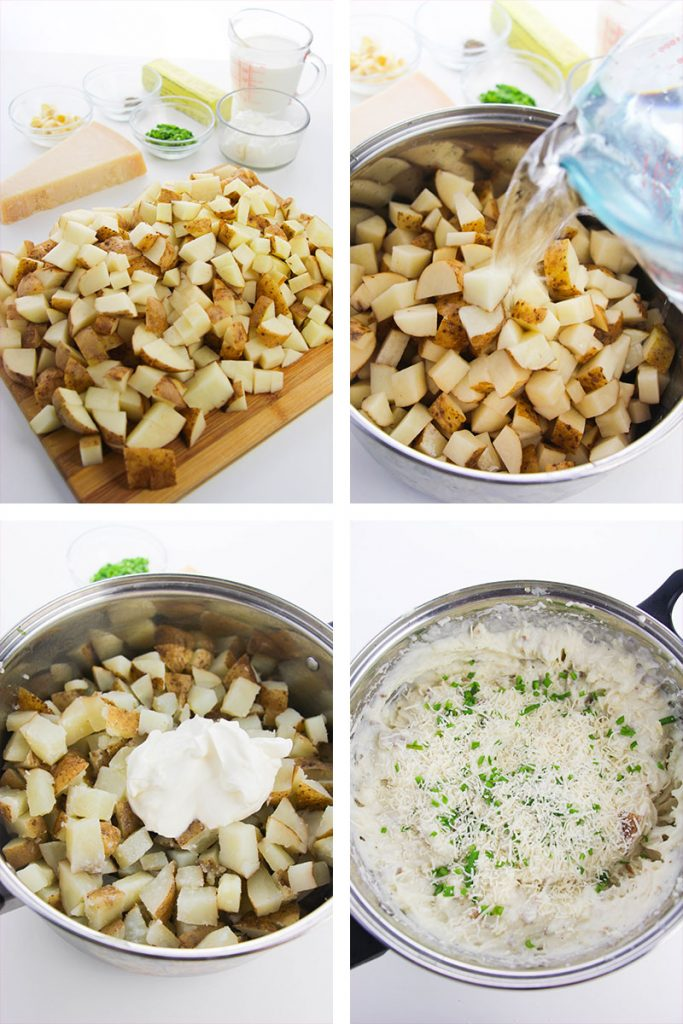 collage of step by step images making garlic mashed potatoes