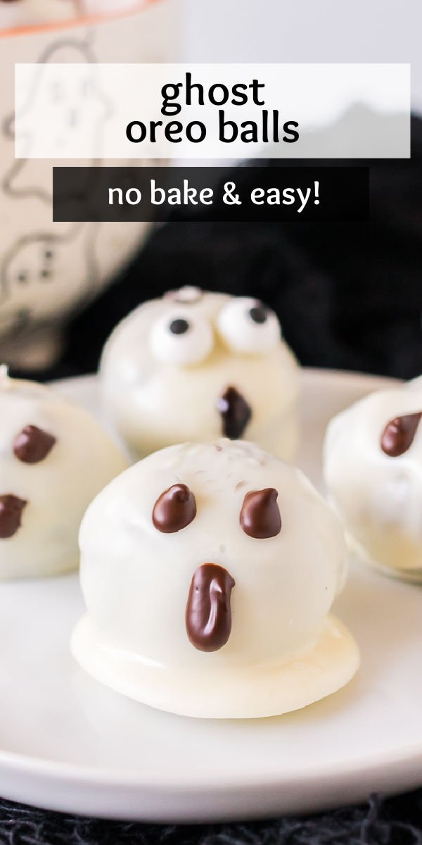 Easy and fun no-bake Ghost Oreo Balls are perfect for a Halloween party. With just four ingredients, they'll be ready in no time! | www.persnicketyplates.com