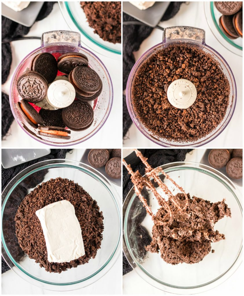 collage of crushing oreos in food processor