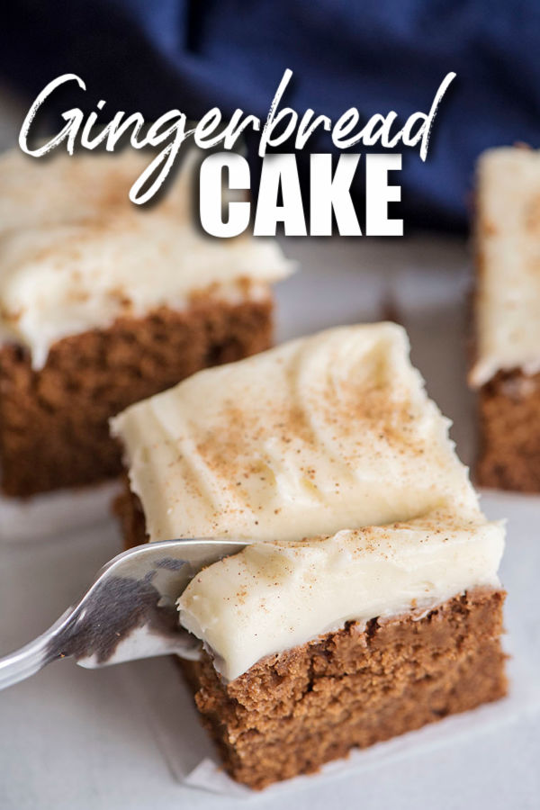 fork cutting into slice of gingerbread cake with title text overlay