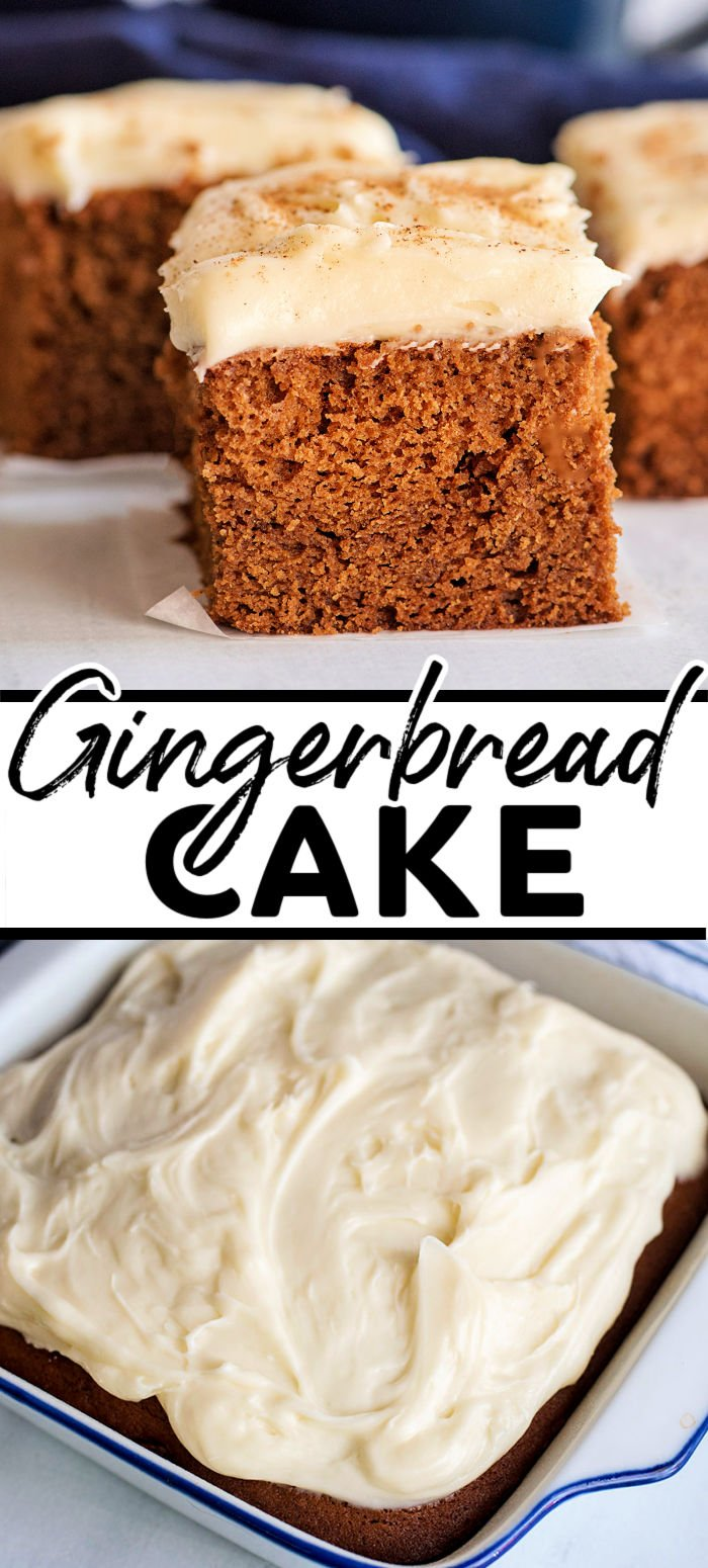 Grab your cinnamon, nutmeg, and allspice and make this tender and flavorful gingerbread cake topped with a cream cheese frosting from scratch in under an hour! | www.persnicketyplates.com
