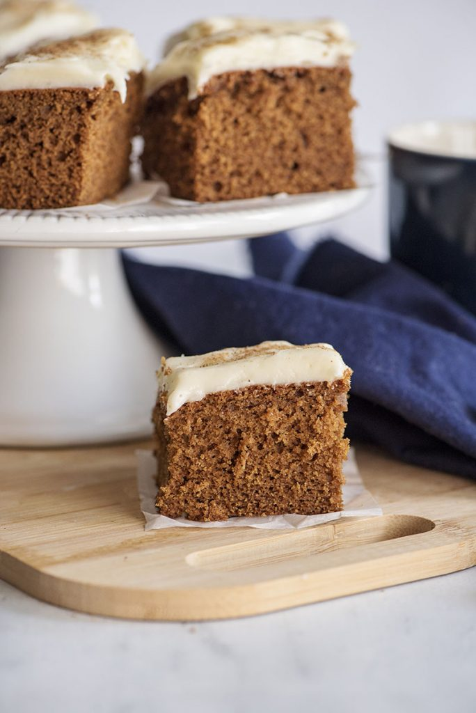 slices of gingerbread cake on a cake plate