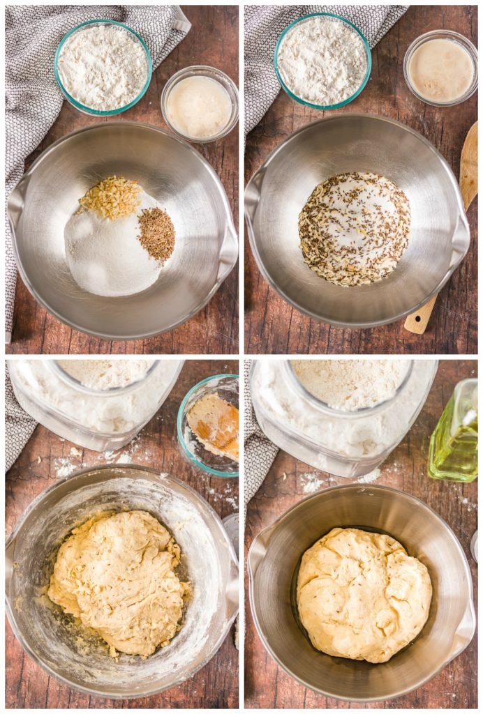 collage of overhead shot of mixing bowls making bread