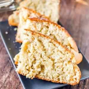sliced bread on grey platter