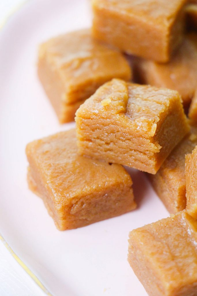 close up stack of peanut butter fudge