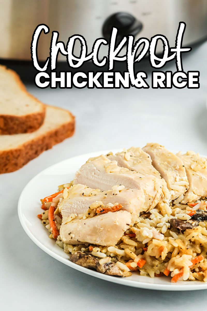 Get dinner on the table with this easy crock pot chicken and rice! Only 10 minutes of prep and such delicious flavor everyone will love. | www.persnicketyplates.com #easyrecipes #crockpotrecipes #dinnerrecipes