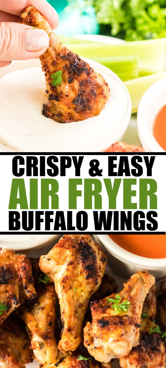 Buffalo Chicken Wings are SO easy to make in your air fryer and they turn out perfectly crispy. They make the best appetizer or even dinner on game days. | www.persnicketyplates.com