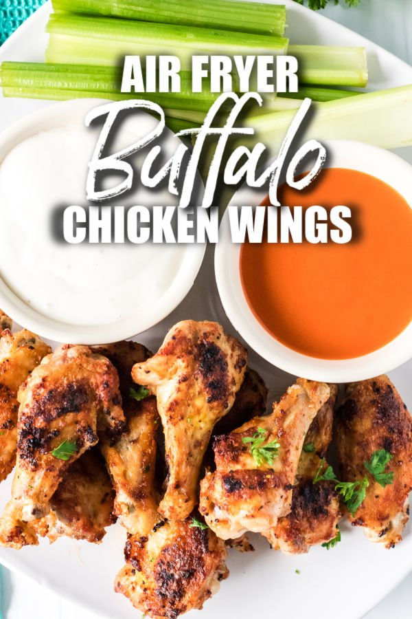 plate of chicken wings with dipping sauces & title text overlay