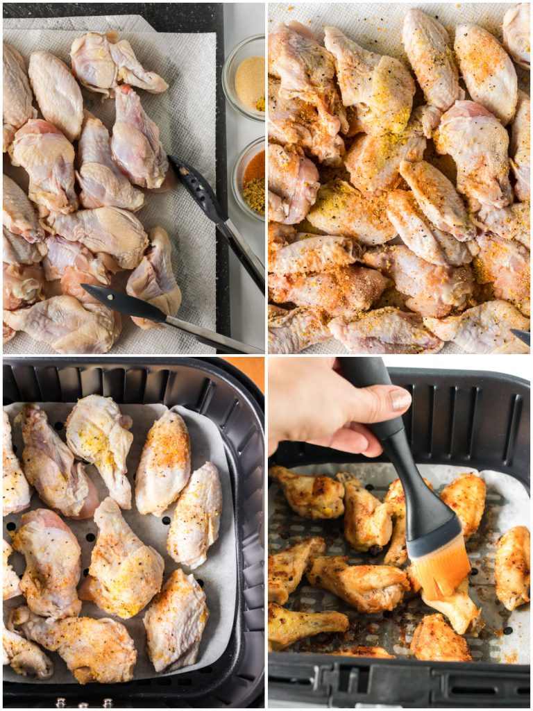 collage of making chicken wings in the air fryer