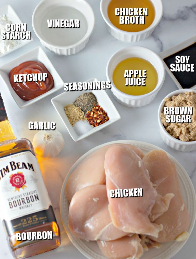 overhead shot of ingredients laid out to make bourbon chicken
