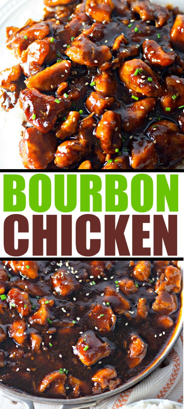 Easy bourbon chicken made on the stovetop, in one pot, is sweet, sticky and perfect over a bed of rice. Like the mall but better! | www.persnicketyplates.com