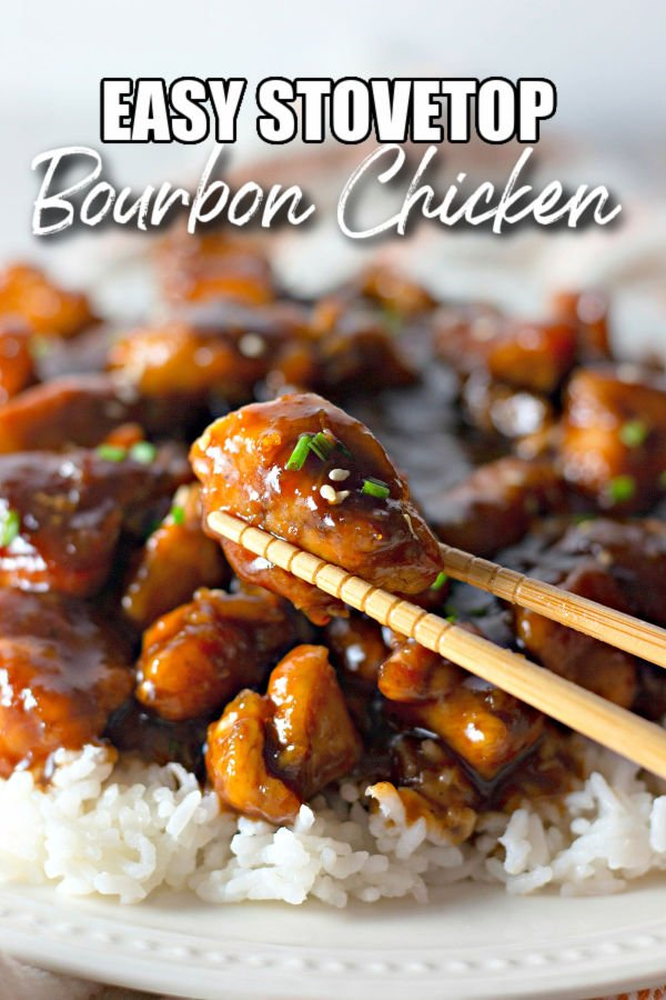 boubon chicken in chopsticks with title text overlay