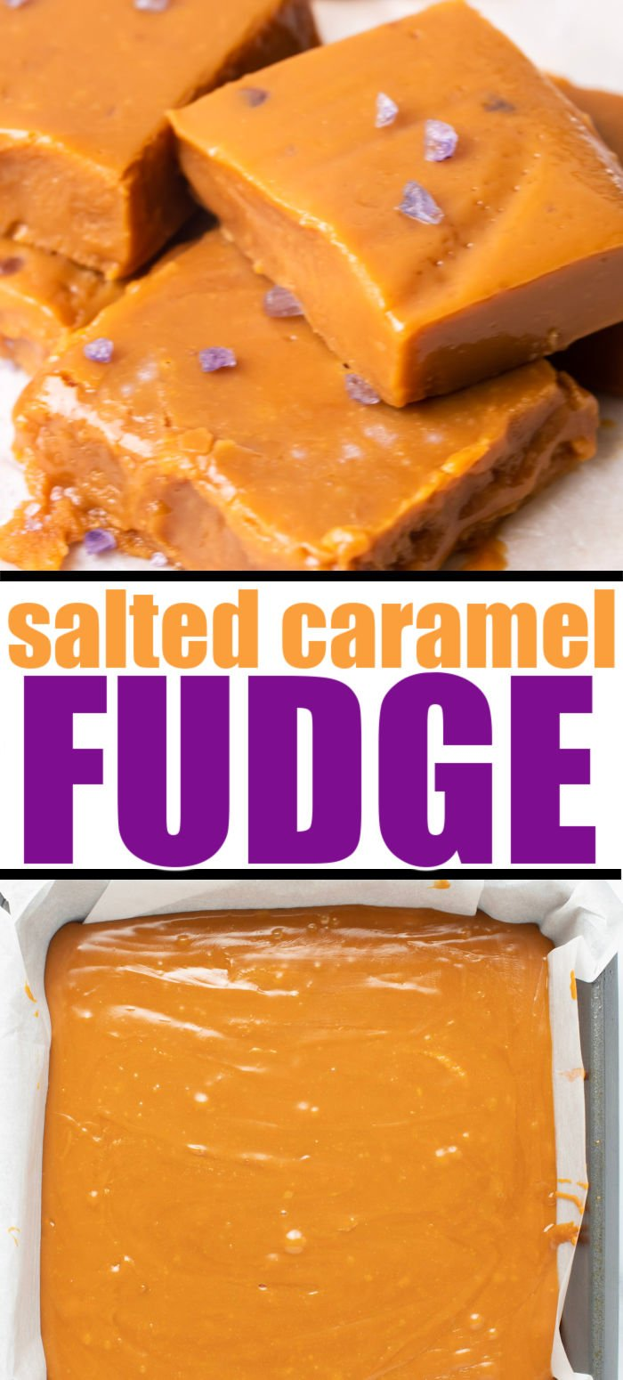 Looking for an easy Christmas candy recipe? This salted caramel fudge is made with just FOUR ingredients right in your slow cooker. Perfect for holiday parties, gift giving, or enjoying by yourself. #holidayrecipes #candyrecipes #fudgerecipe