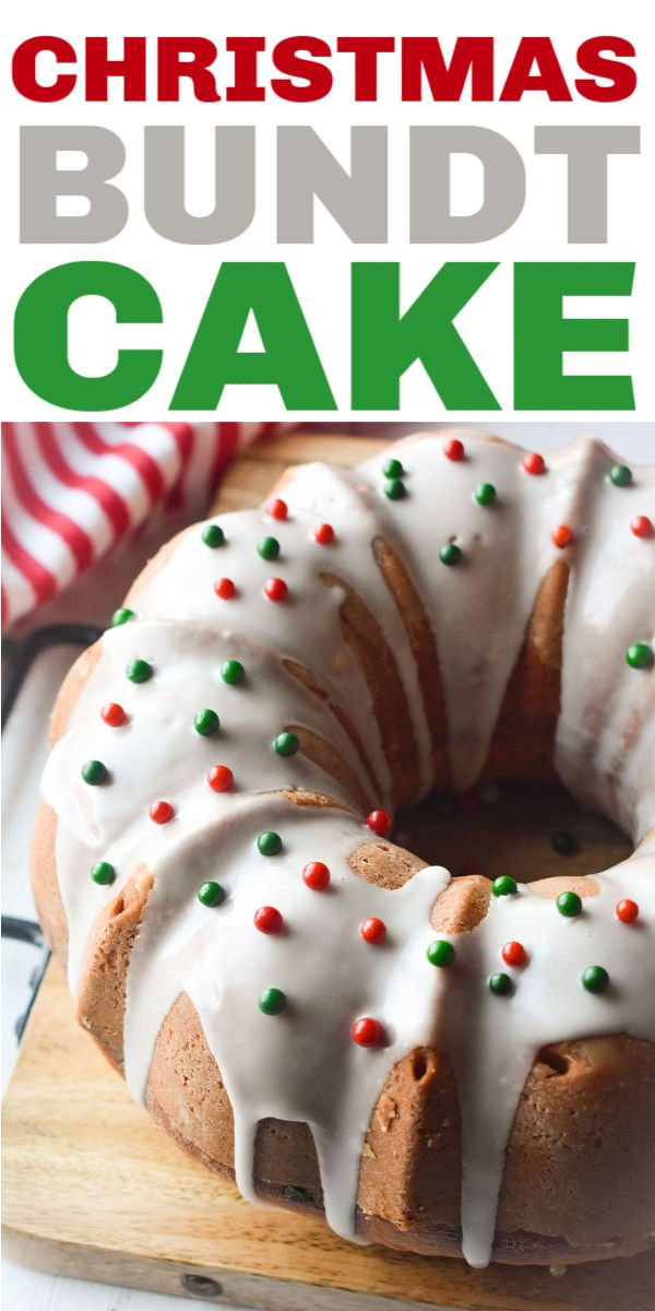 This Christmas Bundt Cake is easy, made from scratch, and festive. A simple icing and sprinkles dress it up for the holiday. | www.persnicketyplates.com