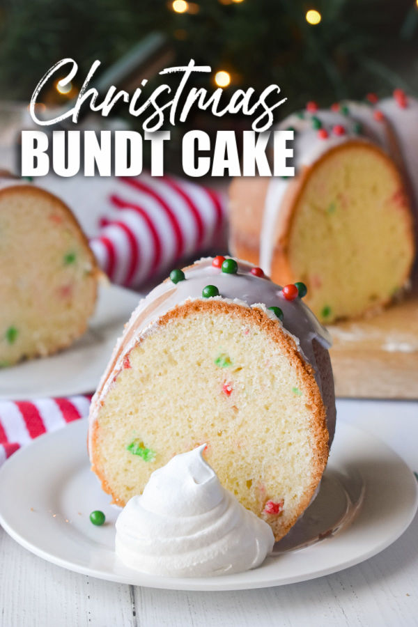 "slice of bundt cake with a dollop of whipped cream with text reading ""christmas bundt cake"""