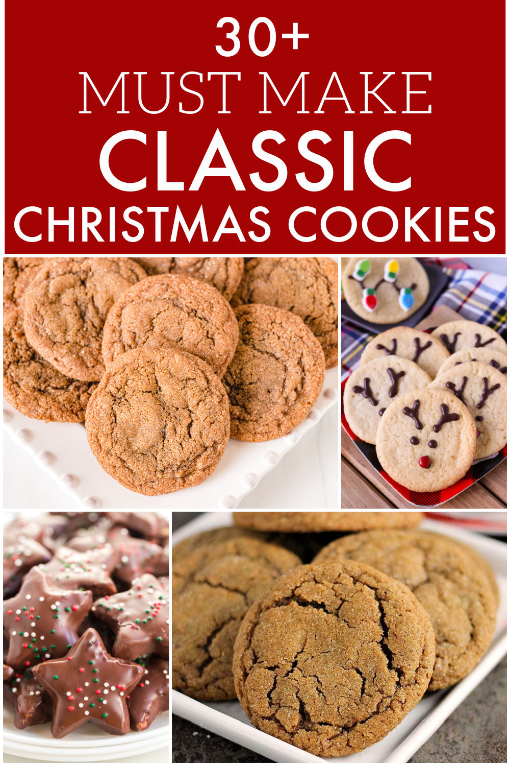 Cookie season is upon us and this collection of classic Christmas cookies will help you spread holiday cheer! From ginger snaps to frosted sugar cookies, I have over 30 classic cookie recipes to fill your Christmas cookie trays. | www.persnicketyplates.com