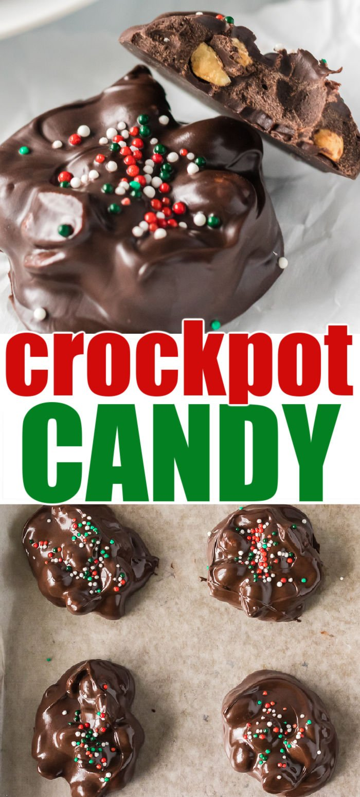 Crockpot Peanut Clusters are the perfect way to give your oven a break during all the holiday baking. This easy crockpot candy is made right in the slow cooker and is perfect for gift giving or on a dessert tray!  | www.persnicketyplates.com