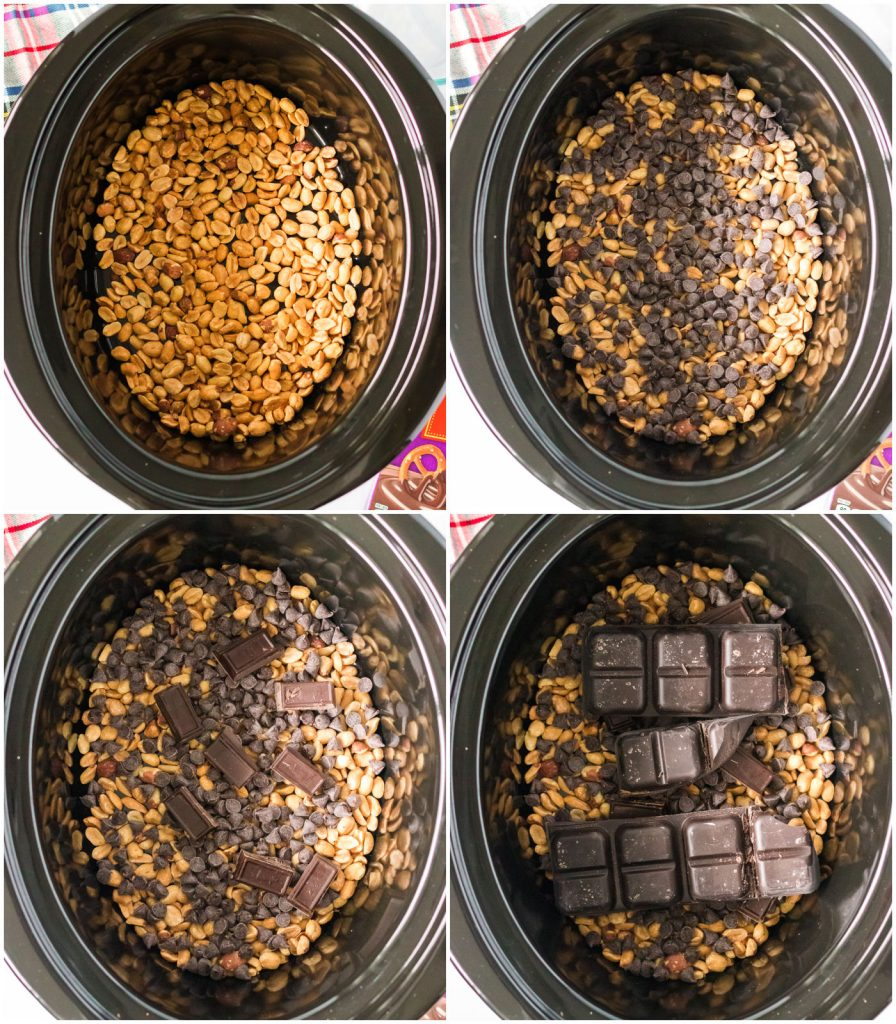 overhead shot of crockpot bowl with peanuts and chocolate chips