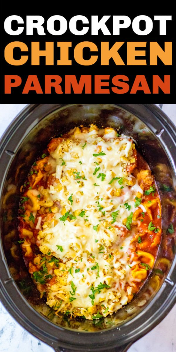Quick & easy chicken parmesan made right in the crockpot! Pair it with tortellini pasta for a delicious easy weeknight dinner. | www.persnicketyplates.com