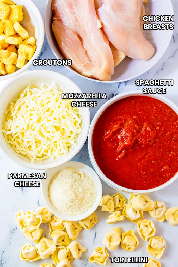 labeled ingredients for crockpot chicken parmesan