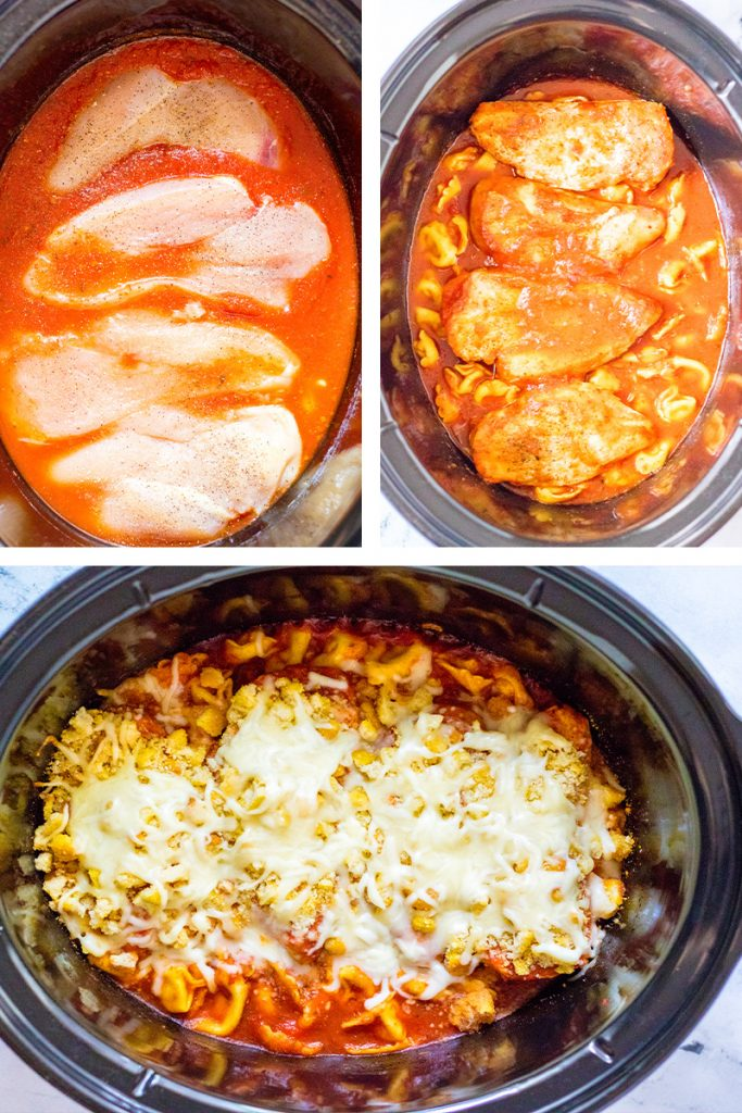 step by step collage images to make crockpot chicken parmesan