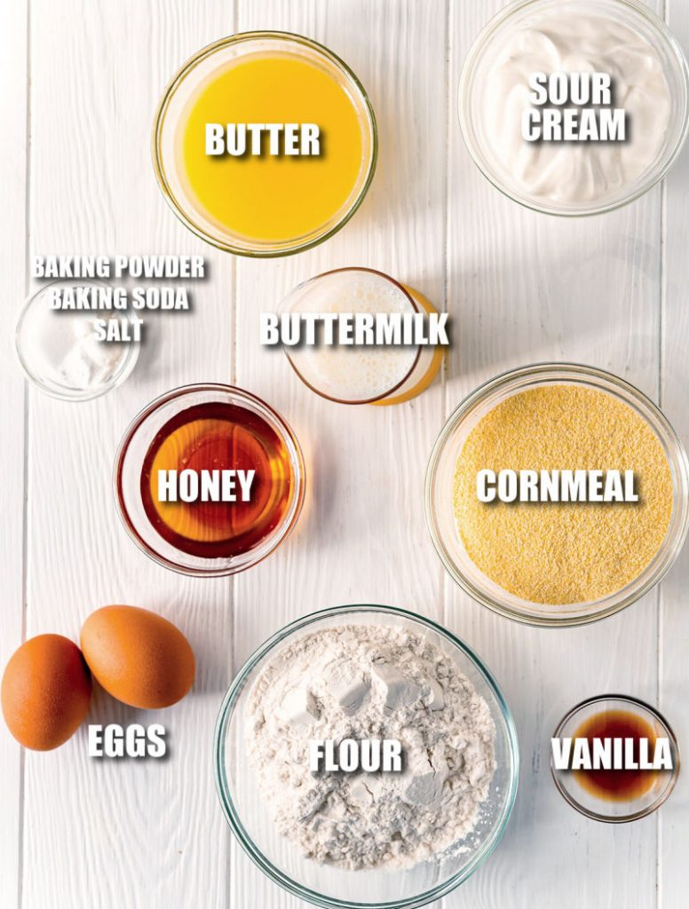 ingredients laid out to make honey cornbread