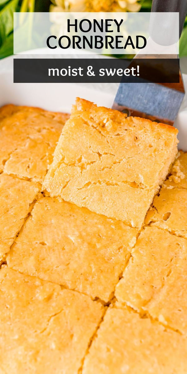 This easy homemade Honey Cornbread recipe is sweet and moist from the honey with a salted butter top for balance. This side dish is great for Thanksgiving or a BBQ! | www.persnicketyplates.com
